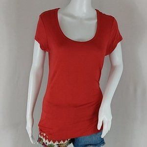 rue21 Lace Back Red Tee Shirt